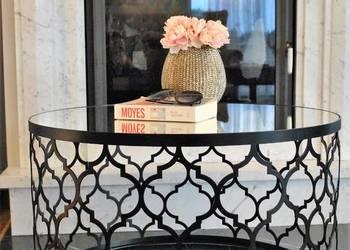 okrągły stolik lustrzany kawowy ława glamour koniczyna złoty
