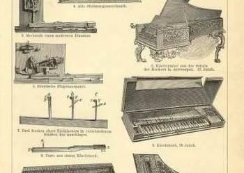 INSTRUMENTY MUZYCZNE, Nuty    oryginalne XIX w. grafiki