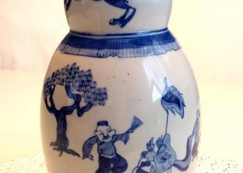 Wazon z chińskimi motywami, ceramiczny, wys. 25cm