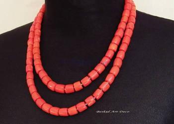Koral naturalny naszyjnik 2 sznury pomarańczowy lub czerwony