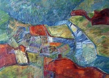 Obraz olejny, oryginał -Pejzaż górski-abstrakcja