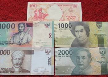 INDONEZJA (3) Kolekcjonerskie Banknoty Zestaw - 5 sztuk UNC