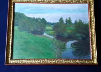 Obraz olejny na płótnie stary. Malarz O. Hentschel.