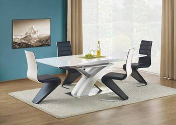 Nowoczesny stół rozkładany lakierowany biały połysk + stal