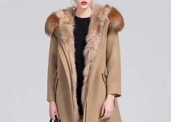 Płaszcz z naturalnej wełny obszyty lisami  M-XXL zima 2017