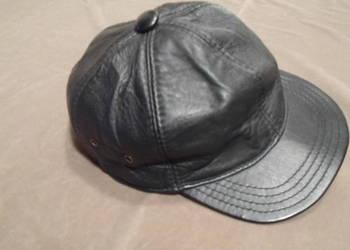czapka skórzana dżokejka