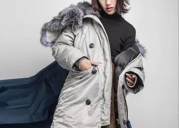 Zimowa kurtka puchowa z lisem srebrnym  NOWA kolekcja