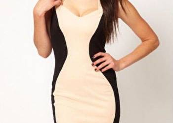 Sukienka lipsy london Panel Bodycon Dress nude black