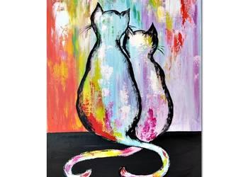 Koty ML /2/ , obraz ręcznie malowany