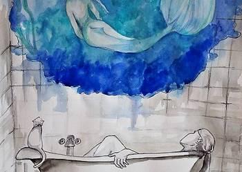 """Akwarela """"W Wannie"""" artystki plastyka Adriany Laube"""