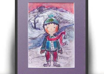 Zimowy chłopczyk, ręcznie malowana ilustracja