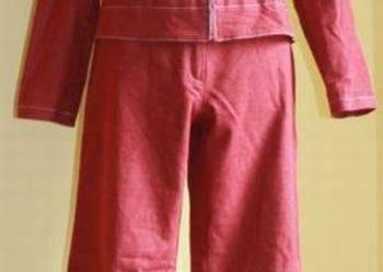 Kurtka i spodnie komplet czerwone, spodnie dzwony