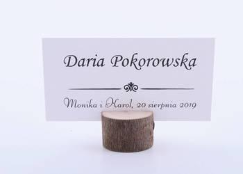 Winietki z drewnianą podstawką z korą, papier biały WD14