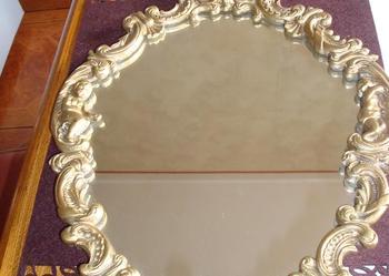 Luksusowe LUSTRO w zdobionej mosiężnej ramie mosiądz rama