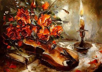 Skrzypce i róże  - Obraz plejny ,50x40 szpachla