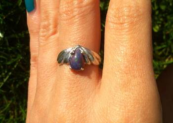 pierścionek z opalem czarny opal