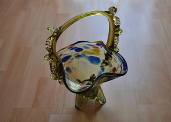 koszyk szkło kolorowe, PRL, starocie