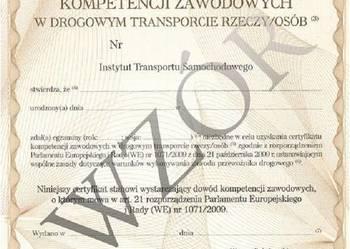 Certyfikat Kompetencji zawodowych przewoźnika