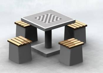 Betonowy stolik rekreacyjny z 4 stołkami