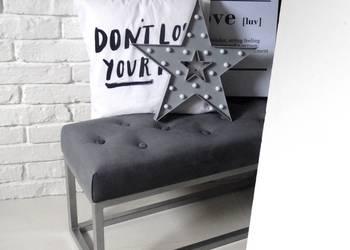 Loft ławka siedzisko pikowana pikowane ławeczka chrom pufa