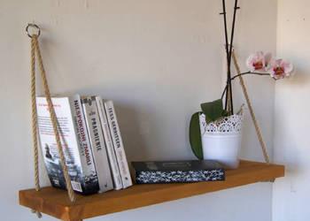 Półka pojedyncza na linach, na książki, dekoracje