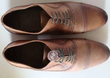 Brązowe wizytowe buty ZARA męskie roz. 43 i 41 skóra NOWE