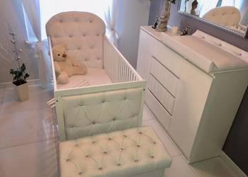 Nowe łóżeczko + materac 140x70 Kryształki Przewijak