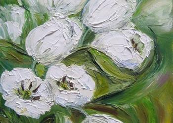 Białe tulipany - obraz olejny - kwiaty