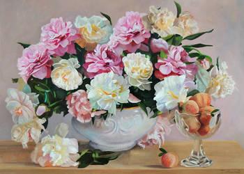 Obraz olejny kwiaty peonie piwonie z ramą Tomasz Mrowiński