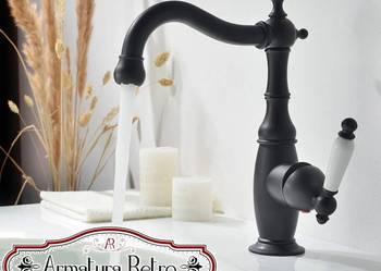 Czarna mosiężna bateria umywalkowa z mieszaczem - Bernardo