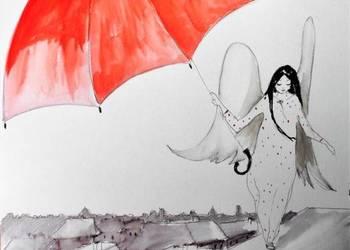 """Akwarela i piórko """"Anioł z parasolem"""" artystki Adriany Laube"""