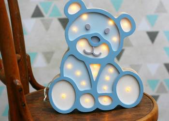 Drewniana lampa LED - MIŚ