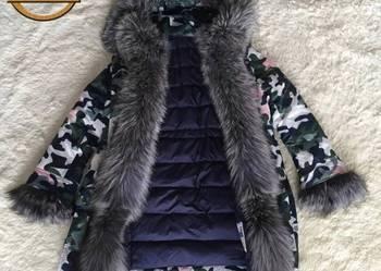 Zimowa puchowa kurtka obszyta lisem S/XXL