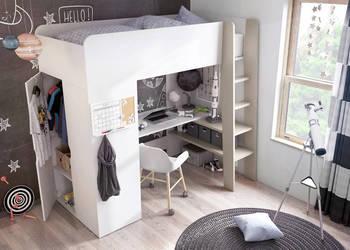 Łóżko piętrowe dziecięce, młodzieżowe z biurkiem i szafą HIT