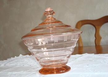 Antyczna szklana BOMBONIERA szkło z lat 30.