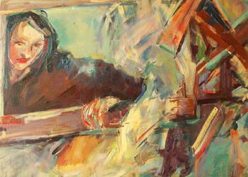 Obraz olejny, oryginał - Dziewczyna w oknie