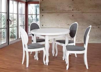 Biały okrągły stół z 4 krzesłami