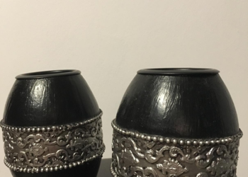 Świeczniki 2szt czarne drzewo i aluminium orientalne