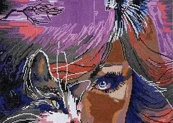 Obraz Kobieta Kot Haft Krzyżykowy Tarnów Sprzedajemypl