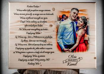 Podziękowania ślubne dla rodziców NA DESCE, prezent na ŚLUB