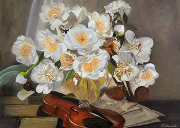 Obraz olejny peonie i skrzypce