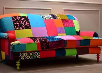 Sofa trzyosobowa, nierozkładana, patchwork