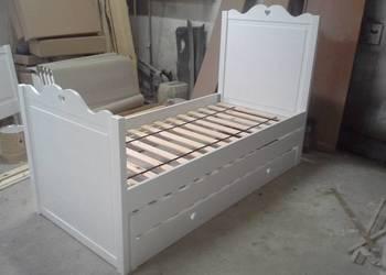 Łóżko pietrowe niskie białe serduszko