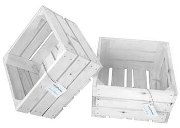 Drewniana skrzynka dekoracyjna 30x30x18 biała