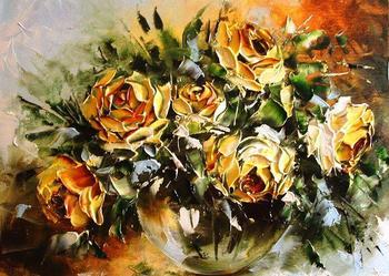 Róże - kwiaty , obraz olejny , szpachla, 40x50