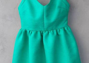 zielona sukienka ZARA trafaluc S żakardowa wycinana taliowan