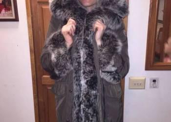 Czarna kurtka zimowa S M L XL lis srebrny