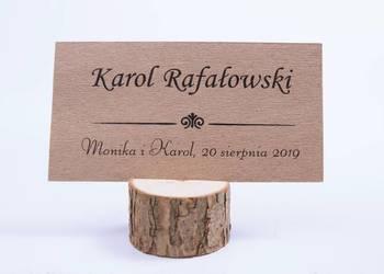 Winietki z drewnianą podstawką z korą, papier biały WD15