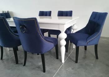 Krzesło tapicerowane pikowane z pinezkami z kołatką hampton