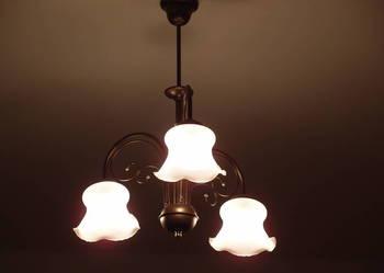 Żyrandol lampa wisząca stylizowana mosiądź stare złoto